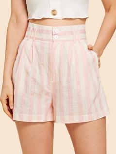 High Waist Buttoned Striped Shorts