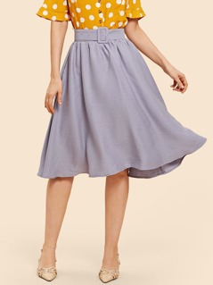 Belted Solid Flare Skirt