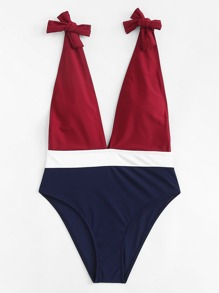 Plus Plunging Neck Color Block Swimsuit