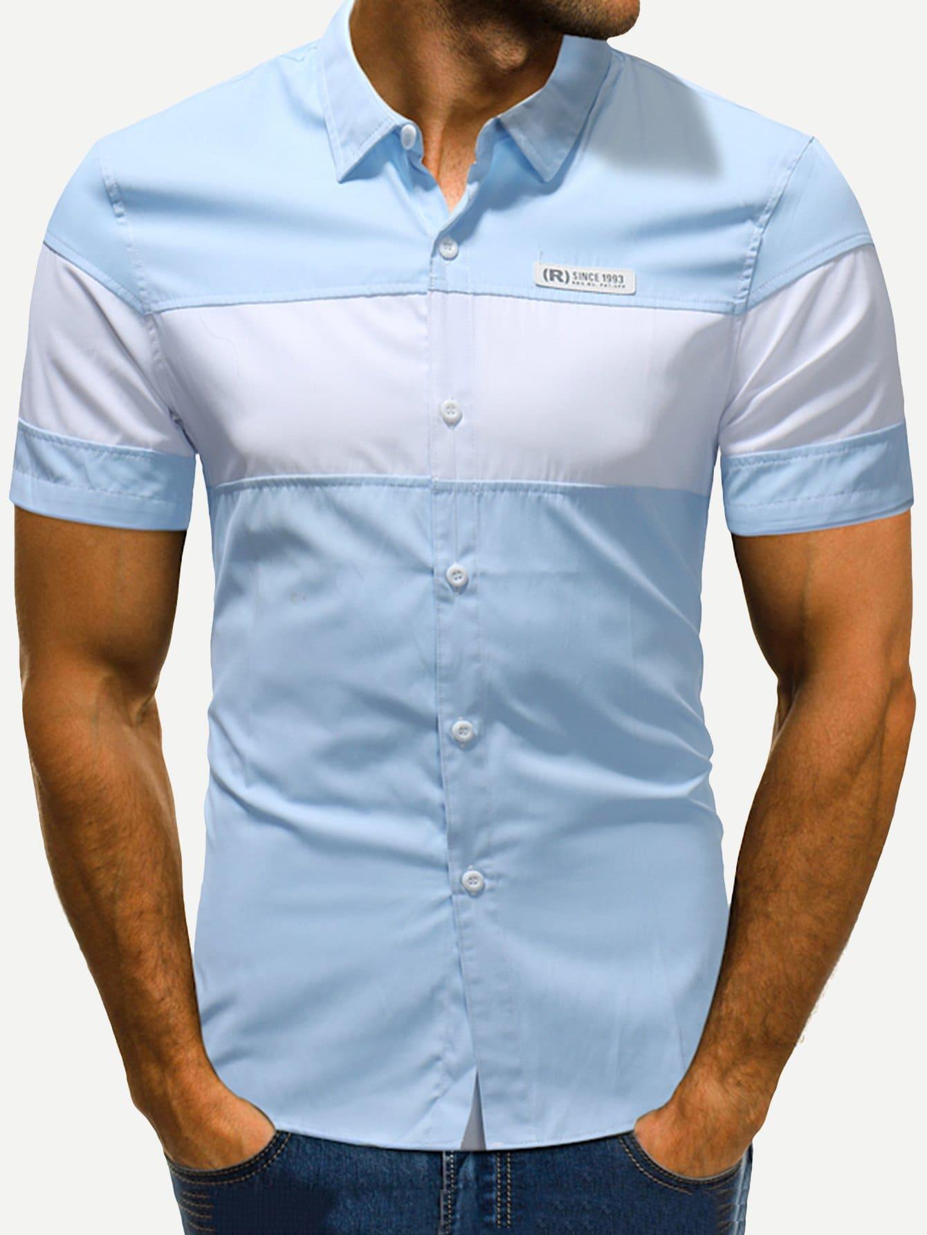 Купить Контрастный цвет Синий Мужские рубашки, null, SheIn