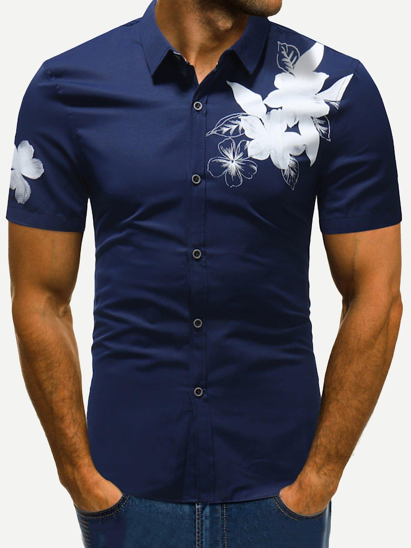 Men Floral Print Blouse men zebra print blouse