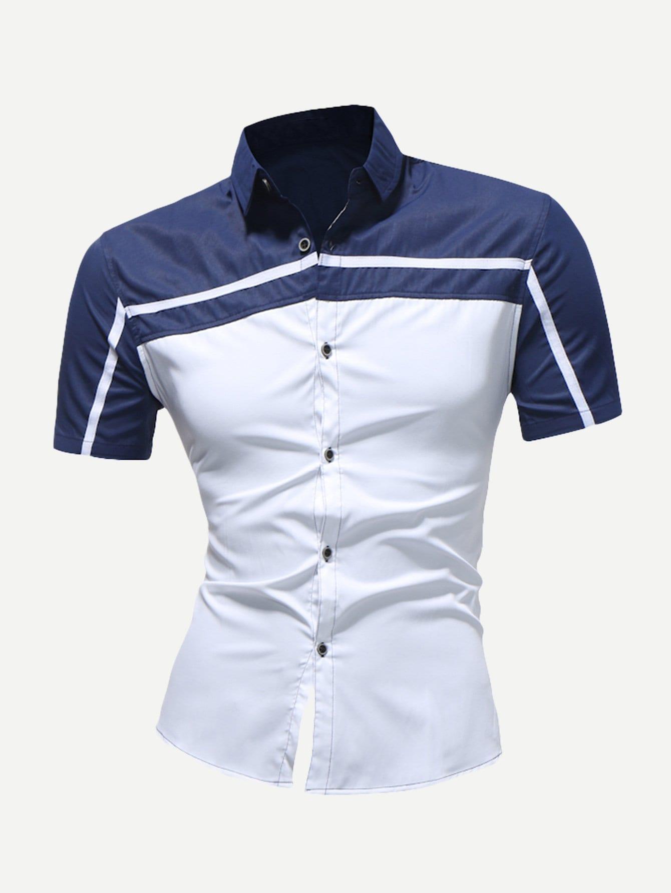 Купить Полосатый Контрастный цвет Синий Мужские рубашки, null, SheIn