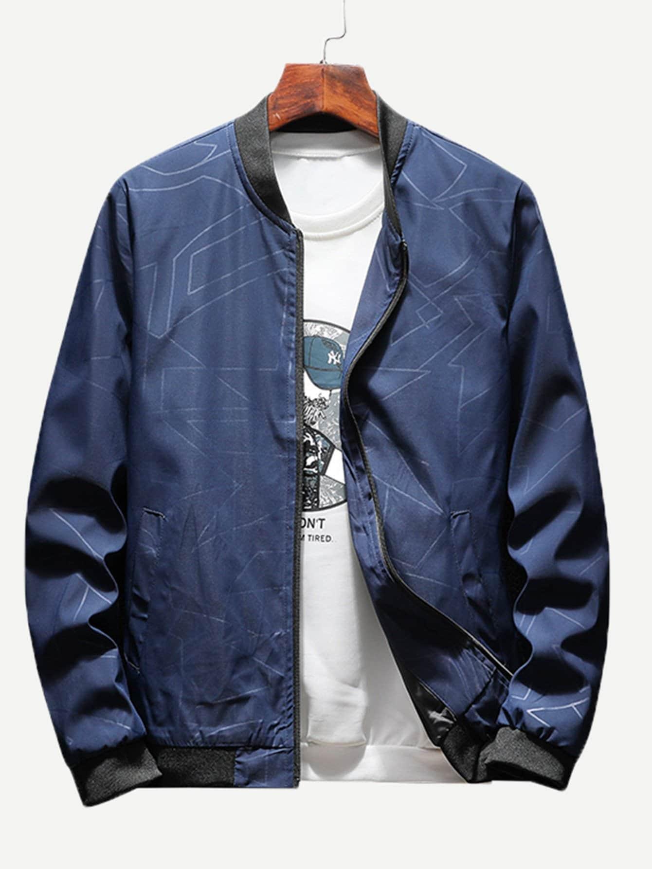 Купить Одноцветный Темно синий Мужские пальто и куртки, null, SheIn