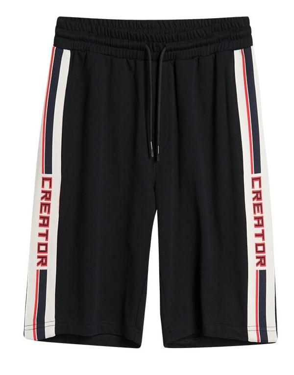 Men Contrast Tape Side Shorts