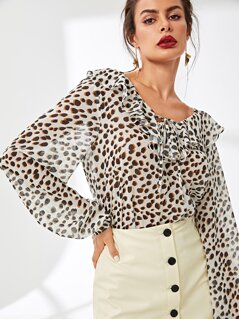 Ruffle Detail Leopard Print Top