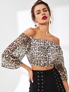 Leopard Print Crop Bardot Top