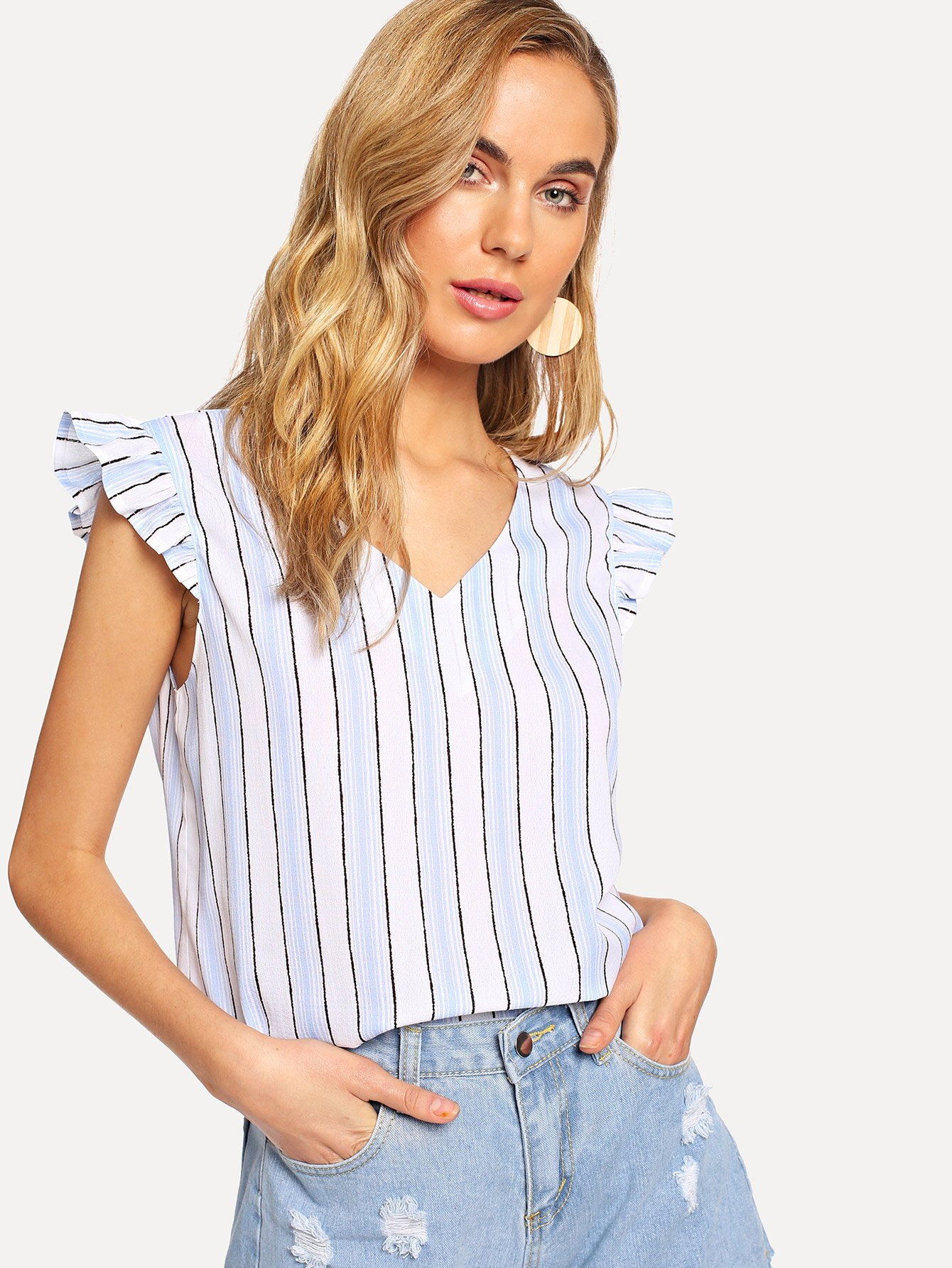 Flounce Embellished Knot Striped Top