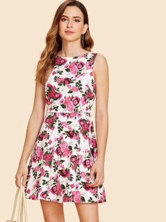 Flower Print Fit & Flare Dress