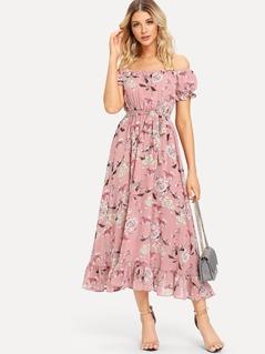 Off Shoulder Floral Ruffle Hem Dress