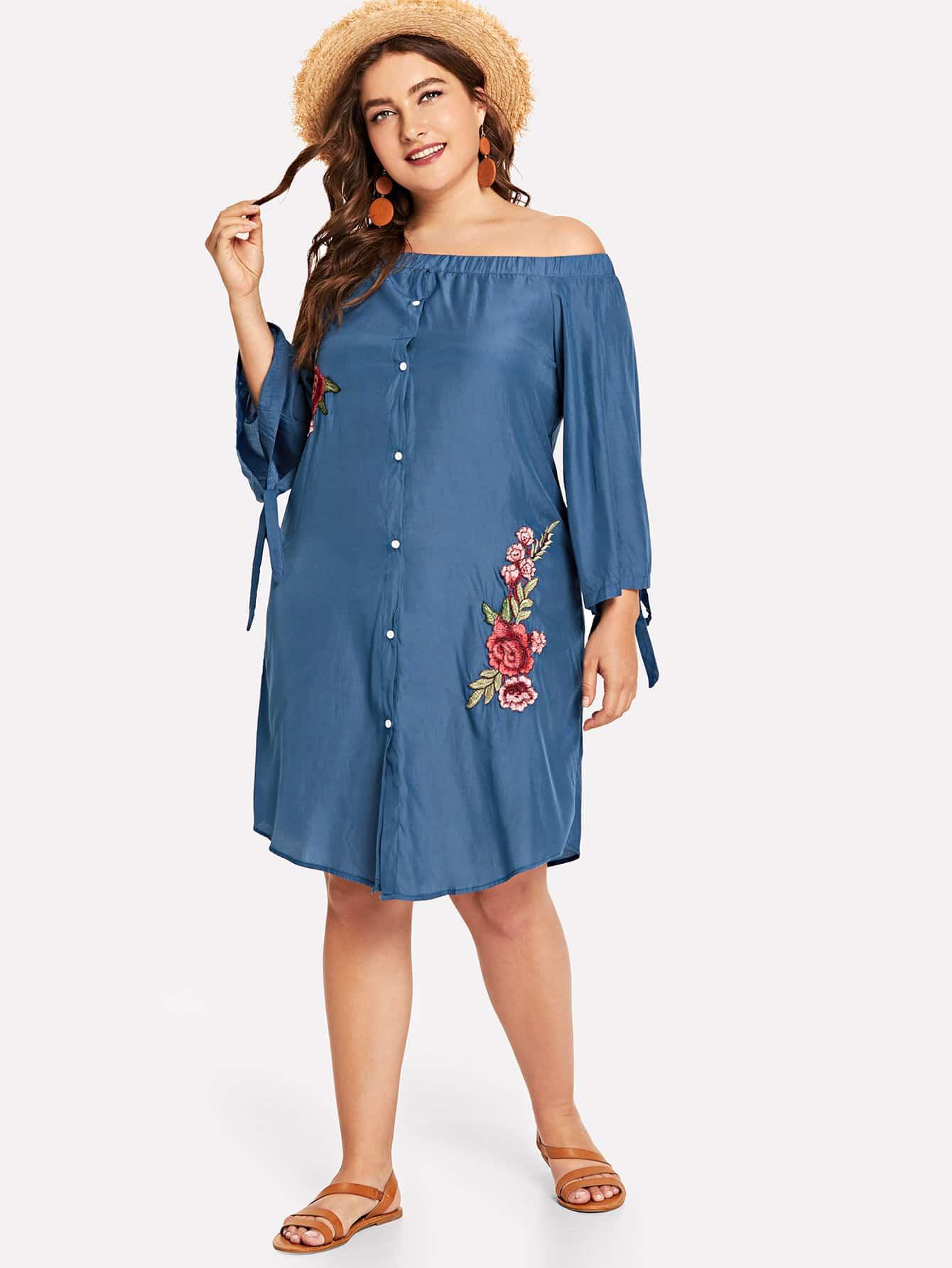 Купить Платье с широкими рукавами и аппликацией цветы, Franziska, SheIn