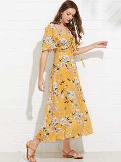 Bell Sleeve Flower Print Drawstring Dress