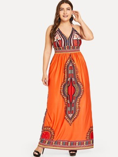Plus Ornate Print Bodice Cami Dress