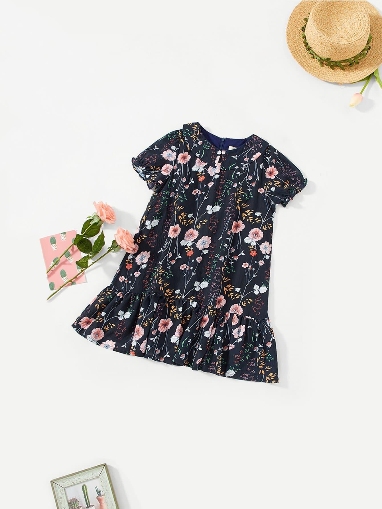 Купить Цветочная печать Ruffle Hem Dress, null, SheIn