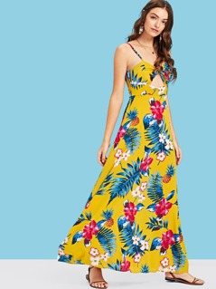 Knotted Open Front Tropical Cami Dress