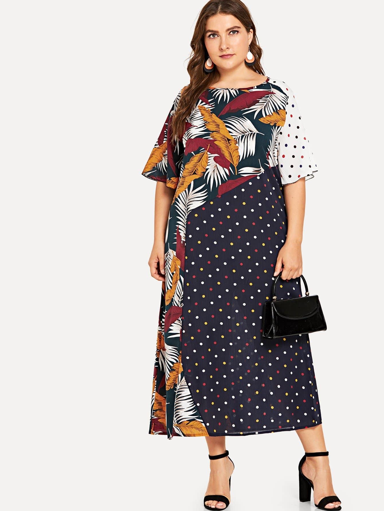 Купить Платье из смешанной печати, Franziska, SheIn