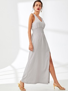 Elastic Waist Pleated Shell Dress