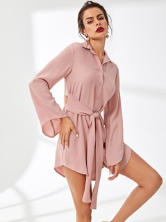Button Front Collar Neck Solid Dress