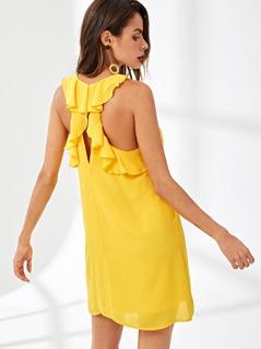 Flounce Embellished Shell Swing Dress