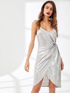 Twist Side Overlap Metallic Dress