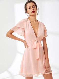 Tiered Flutter Sleeve Knot Plunging Neck Dress