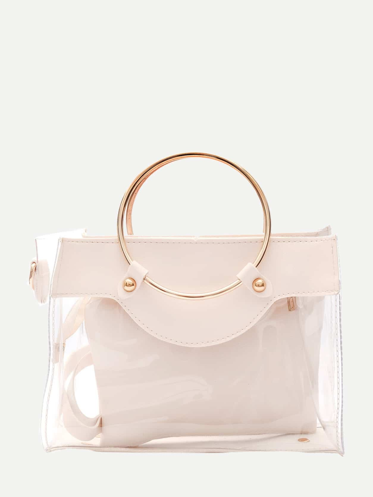 Clear Ring Handle Bag With Inner Clutch transparent envelope clutch bag