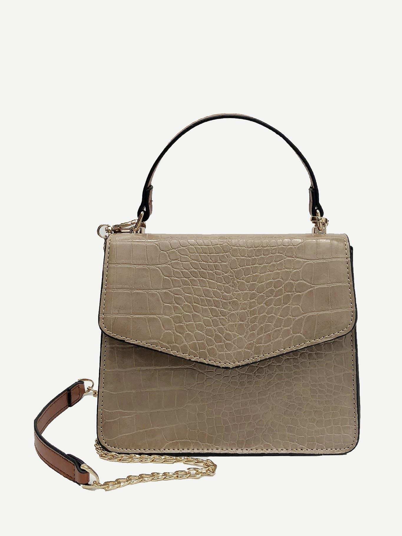 Croc Embossed Flap Grab Bag buckle detail flap grab bag