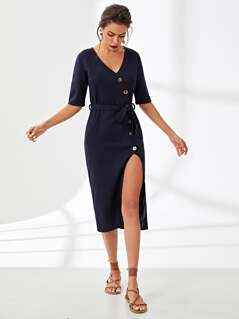 Asymmetric Buttoned Placket Belted Dress