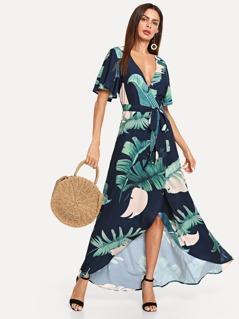 V-Neck Wrap Tropical Print Dress