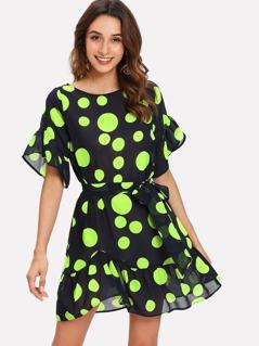 Polka Dot Self Belted Dress
