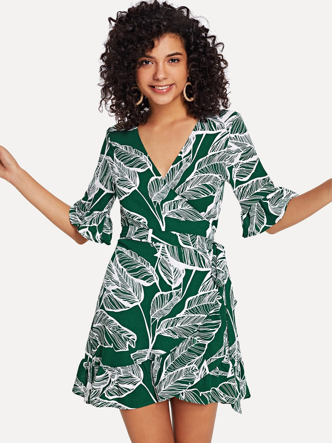 Купить Wrap Knot Tropical Print Dress, Starl Lane, SheIn