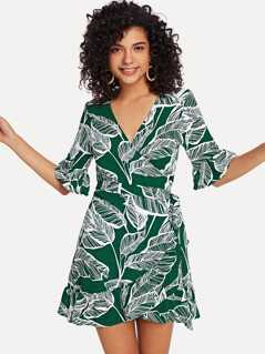 Wrap Knot Tropical Print Dress