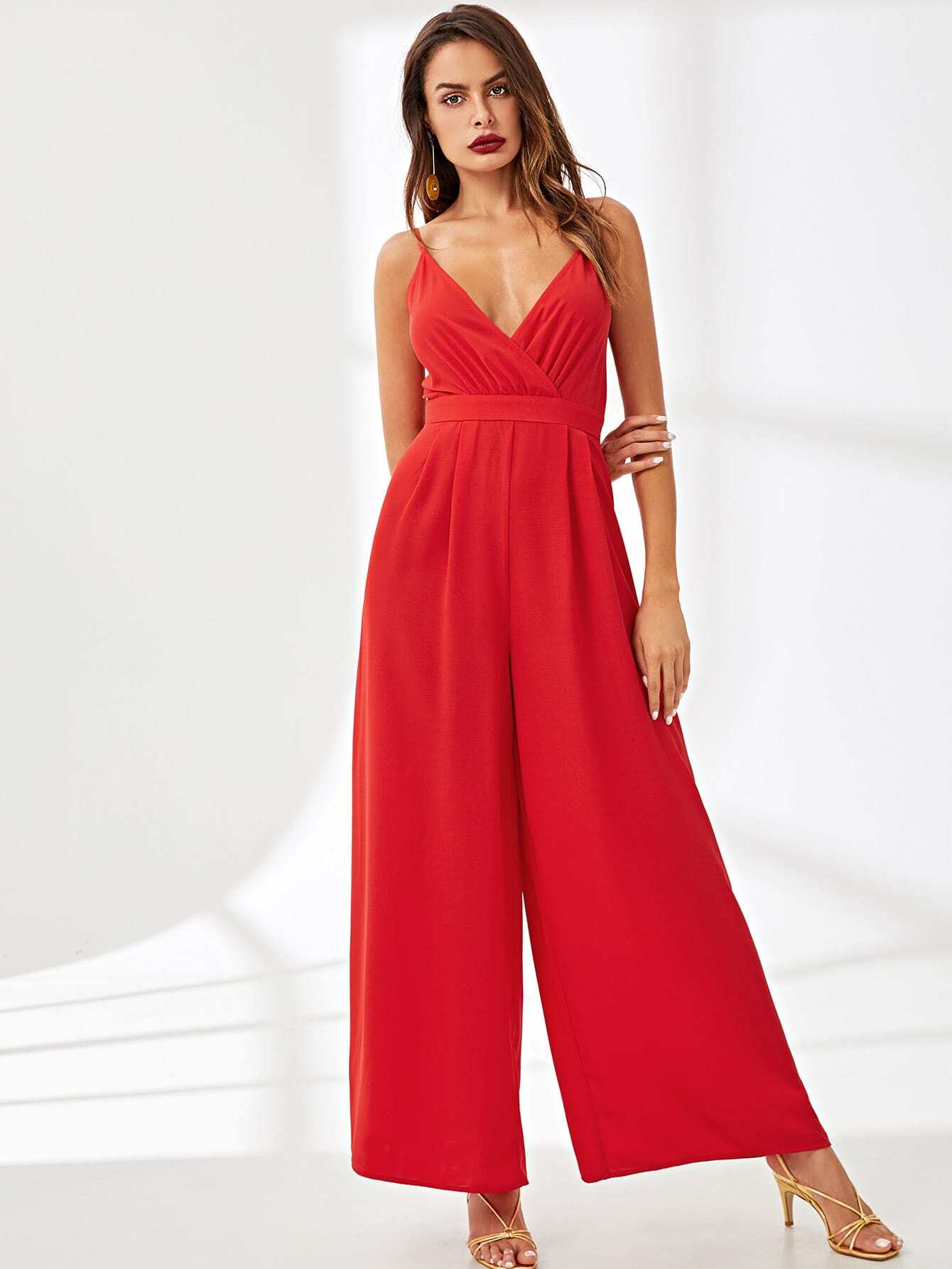 Surplice Neck Wide Leg Cami Jumpsuit surplice neckline self tie cami jumpsuit