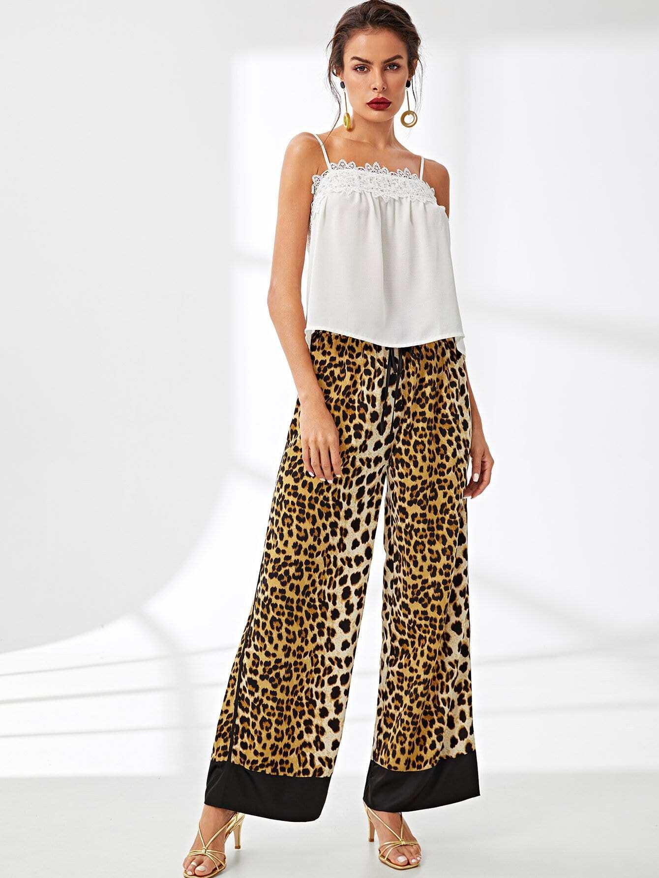 Waist Drawstring Leopard Print Pants morgan mg 006s 1ba