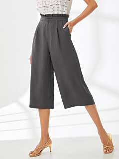 Frilled Waist Wide Leg Pants