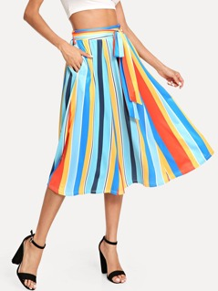 Belted Striped Skirt