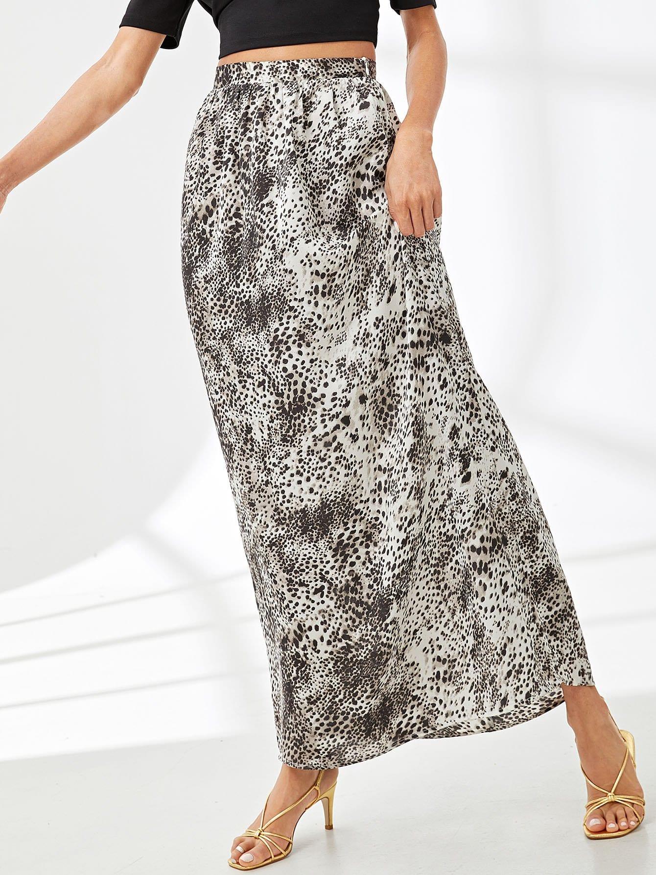 Leopard Print В штучной упаковке Плиссированная юбка