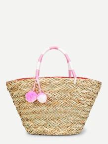Straw Tote Bag With Double Pom Pom