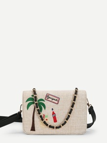 Palm Embroidered Flap Crossbody Bag