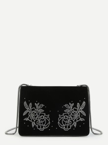 Rose Pattern Flap Crossbody Bag