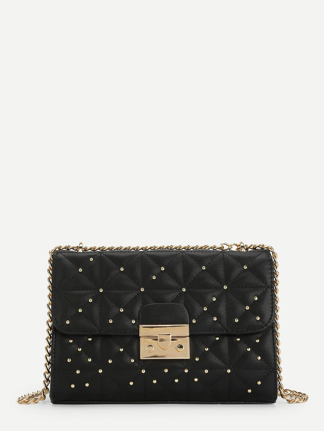 Studded Detail Flap Chain Bag studded detail buckle decor chain bag