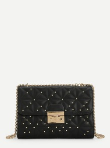 Studded Detail Flap Chain Bag