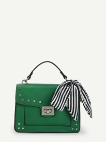 Piping Detail PU Crossbody Bag With Twilly