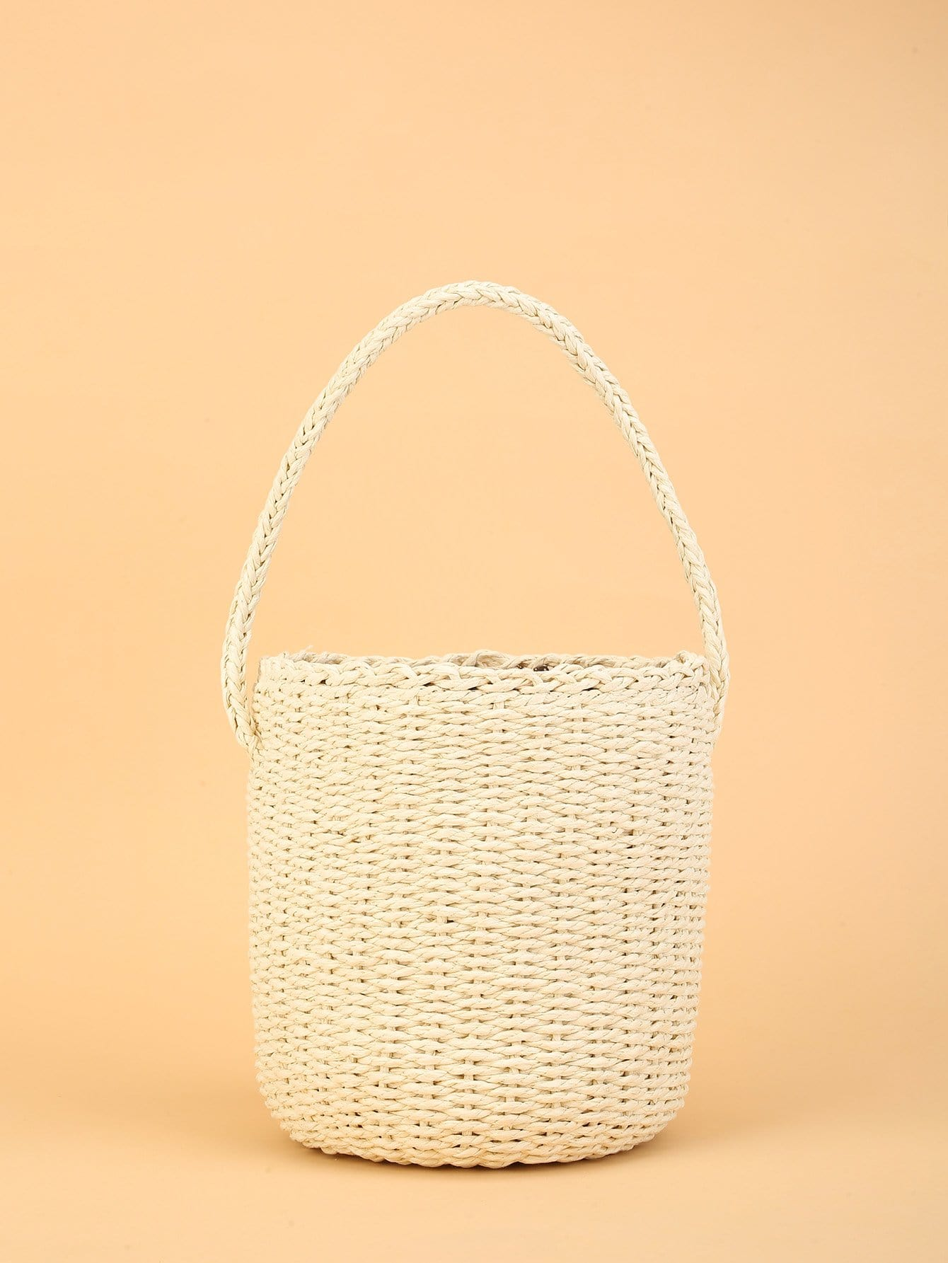 Bucket Design Straw Bag flounce trim straw bucket bag