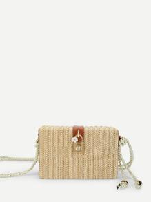Lock Detail Straw Crossbody Bag