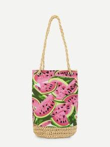 Watermelon Print Canvas Shoulder Bag