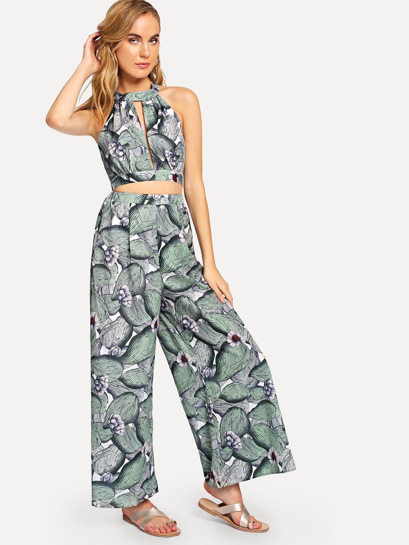 Купить Slit Cut Crop Halter Top & Palazzo Leg Pants Set, Charlotte, SheIn