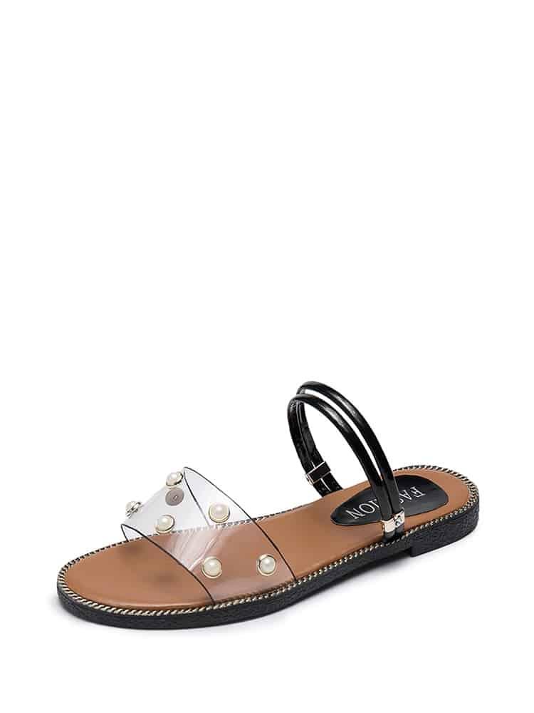 Faux Pearl Decor Clear Sandals
