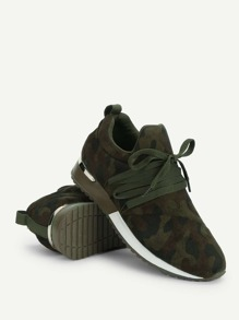 Camo Print Lace Up Suede Sneakers