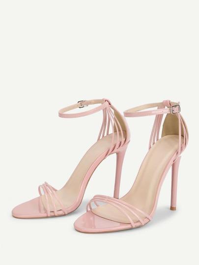 Romwe / Ankle Strap Open Toe Heeled Sandals