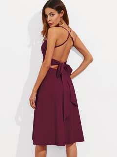 Crisscross Belted Back Flared Cami Dress
